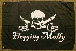 "Rare Flogging Molly Black Cloth Textile Poster Pirate Flag 29 "" X 44 "" 2 Grommets"