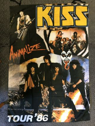 Large Kiss Animalize Tour '86 Textile Poster Wall Hanging Vintage Official 1986