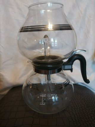 Pyrex Clear 2 Piece Coffee Pot - Lwa - 8 - M 10.  5 X 8 & 3.  75in - 8 Cup Percolator.