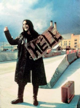 Ozzy Osbourne Hitchhiker To Hell Cloth Fabric Textile Poster Wall Hanging 2001