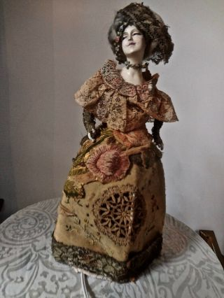 Exquisite Large Half Doll Lamp Dressed In Multiple Precious Antique Textiles