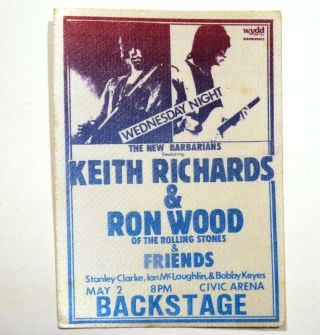 Keith Richards / Ron Wood - Textile Backstage Pass - May 2,  1979 - Usa