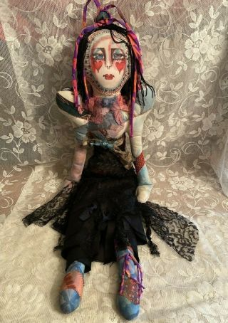 """Christine N.  Malerich Signed,  Mixed Textiles Fabric 33 """" Boudoir Art Doll."""