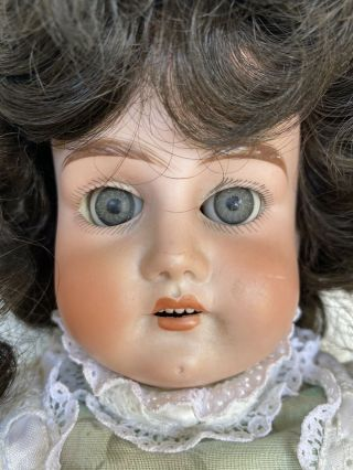 "Antique Germany Porcelain Head,  Hands Doll With Wig 20"" Early 1900's"