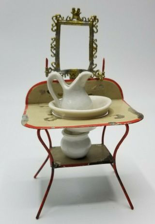 Antique 1880s Dollhouse Soft Metal /tin Wash Stand Comode
