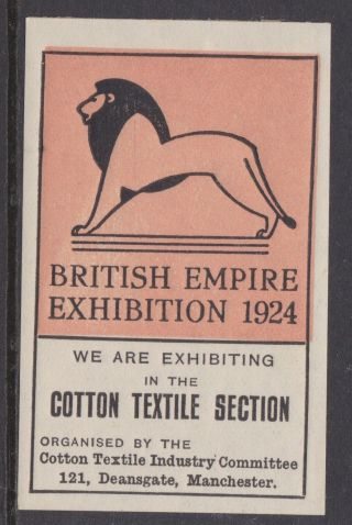 Stamps 1924 British Empire Exhibition Cotton Textile Section Label Etiquette