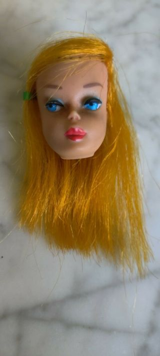 Vintage 1966 High Color Magic Barbie Doll Head Only For Reroot Or Tlc Display