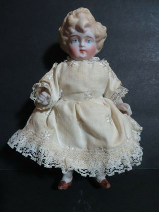 "Antique 6"" All Bisque Doll Molded Hair Jointed Arms & Legs Marked 5 Germany"