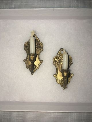 Antique Vintage German Dollhouse Pewter Candle Wall Sconces