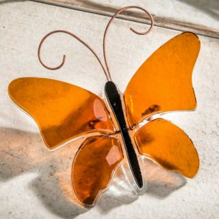 J Devlin Decorative Amber Fused Glass Butterfly Home & Garden Decor Ornament