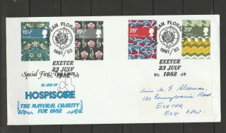 Gb Fdc 1982 Textiles,  Hospiscare Cover,  Exeter Mayoral Charity,  Signed By Angela
