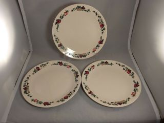 Set Of 3 Corelle Corning Garden Home Dinner Plates