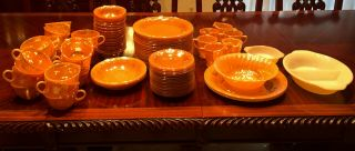 Fire King Dishes In Peach Lustre,  Fire King Glassware In The Laurel Leaf Pattern
