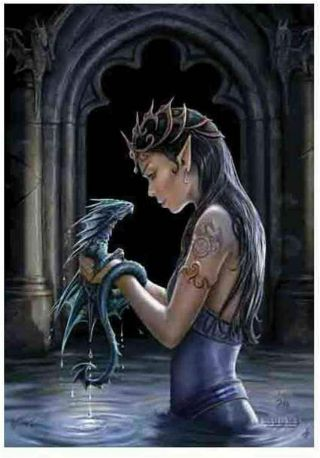 Anne Stokes Water Dragon Textile Poster Fabric Flag