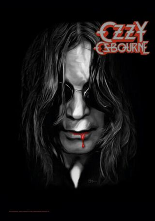 Ozzy Osbourne Blood Lips Textile Poster Fabric Flag