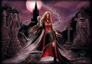 Anne Stokes Blood Moon Textile Poster Fabric Flag