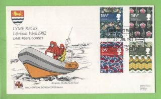 G.  B.  1982 Textiles Official Rnli First Day Cover No.  84,  Lyme Regis
