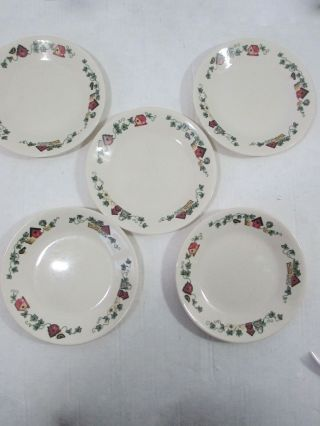 5 Corelle Garden Home Bread Butter Plates Birdhouses 6 3/4 Usa Discontinued