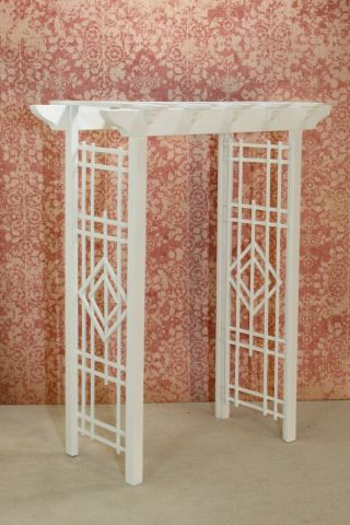 David Krupick White Wooden Garden Trellis - Artisan Dollhouse Miniature