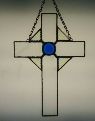 Stained Glass Cross Crucifix,  Hand - Crafted Suncatcher