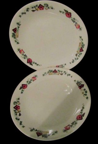 "2 - Corelle Garden Home 8 - 1/2 "" Luncheon Lunch Plates."