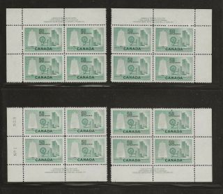 Canada 1953 Textile Industry Plate Block Matched Set Nh