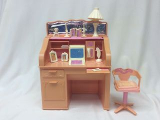 Vintage 1988 Mattel Barbie Doll Sweet Roses Roll Top Desk,  Phone & Accessories