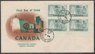 Canada Scott 334 Phil.  Supply Fdc - 1953 Textile Issue