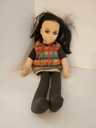 """Vintage 1964 Mute Scooba Doo Gothic Girl Vinyl Face Doll 24 """" In Length."""