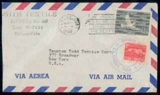 Habana Ad 1959 Cover Mith Textile Air Mail