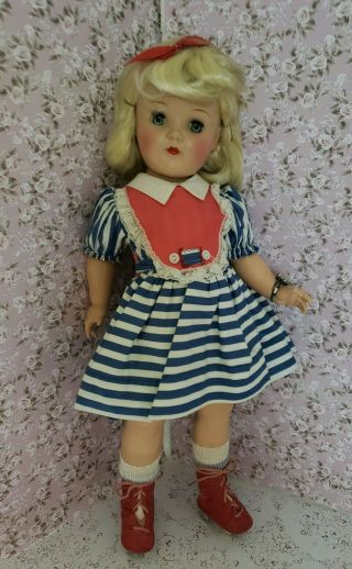 """Vintage P92 Toni 19 """" Doll In A Sweet Dress And Skates"""