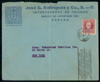 Mayfairstamps Habana 1932 Jose G Rodriguez Federated Textiles Cover Wwf_50295