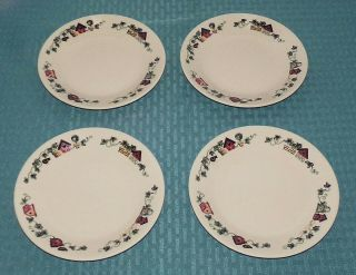 "(4) Corning Corelle Usa Garden Home 6 3/4 "" Bread Butter Side Plates"