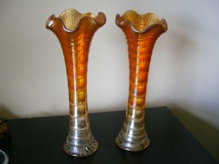 "Vintage Carnival Glass Vases - Approx.  11 "" In Height"