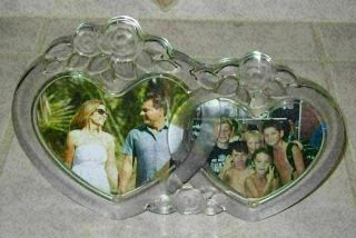 Mikasa Rosemont Frosted Roses Glass Double Heart Photo Frame -