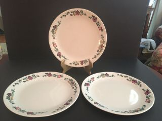 Corelle Dishes Garden Home Beige Birdhouses Large Dinner Plates (3)