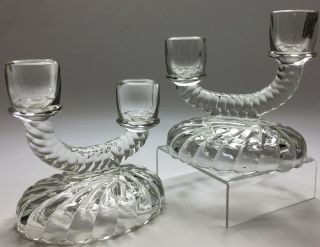Antique Vintage 1933 Imperial Glass Clear Newbound Candlestick Candle Holders