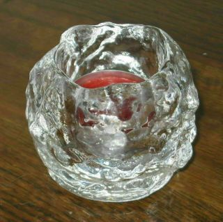 Kosta Boda Clear Crystal Snowball Candle Holder W/tea Light Candle