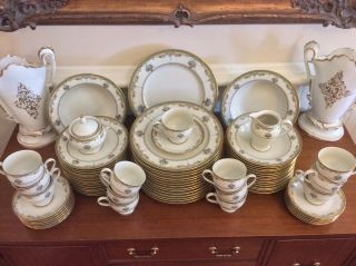 Vntg.  Set Of Fine China 74 Piece Service For 14 - 1 Cup Imperial Bouquet Gold Rim