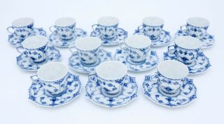 12 Cups & Saucers 1038 - Blue Fluted Royal Copenhagen Full Lace - 2nd Quality