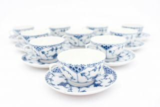 10 Unusual Cups & Saucers 713 - Blue Fluted Royal Copenhagen - 1:st Quality