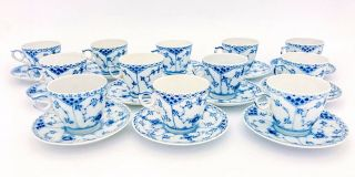 12 Cups & Saucers 719 - Blue Fluted Royal Copenhagen - Half Lace - 1:st Quality