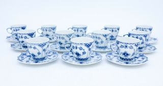 12 Cups & Saucers 1038 - Blue Fluted Royal Copenhagen Full Lace - 1:st Quality