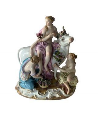 Stunning Antique Meissen Porcelain Group Of Europa