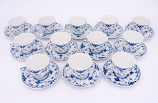 12 Cups & Saucers 756 - Blue Fluted Royal Copenhagen - Half Lace - 1st Quality