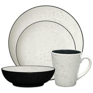 Noritake Colorwave Graphite Bloom Coupe 32pc Dinnerware Set,  Service For 8