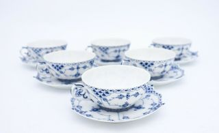 6 Teacups & Saucers 1130 - Blue Fluted Royal Copenhagen - Full Lace 1st Quality