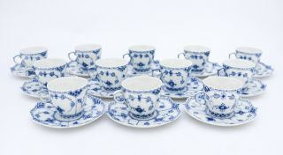 12 Cups & Saucers 1037 - Blue Fluted Royal Copenhagen Full Lace - 1:st Quality