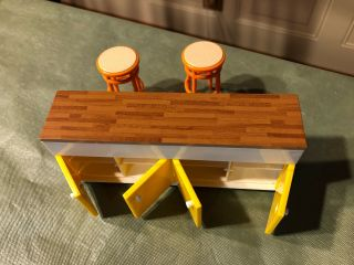 Vintage Tomy Smaller Home And Garden Dollhouse Miniature Bar Unit With Stools