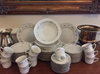 Large Noritake Ivory Fine China Dinner Service Set For 12 Scalloped Platinum Rim